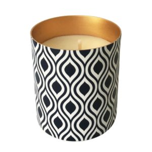 Porcelain Candle With Copper Inner And Indigo Print
