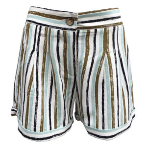 Striped Rayon Linen Shorts in White, acqua, rust and black