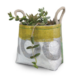 Decorative Garden Plant Container made from Recycled Plastic with Hemp Rope Handles