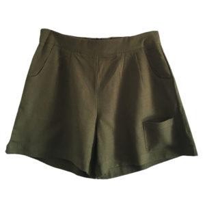 Olive Green High Waist Linen Shorts